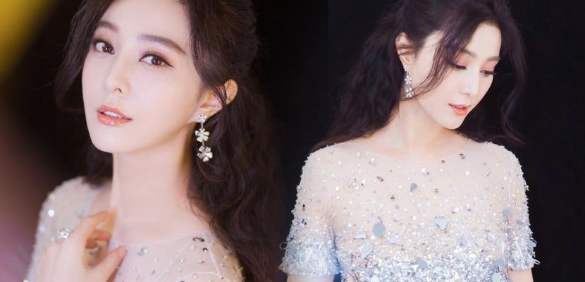 范冰冰镶钻纱裙化身冰雪公主 肌肤胜雪白到发光