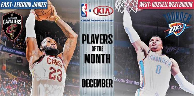NBA公布12月最佳球员 詹姆斯韦少携手当选