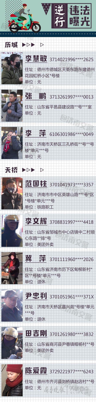 逆行?济南9名非机动车主被实名曝光,含家庭住址