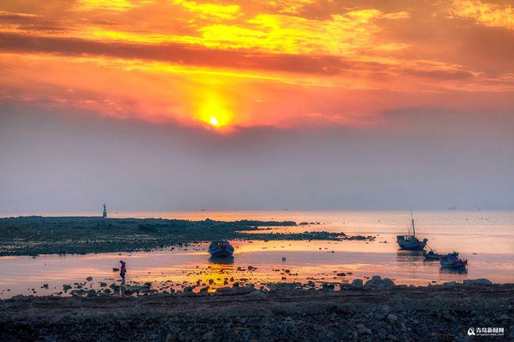 冬游环岛路 看青岛西海岸最美的晚霞