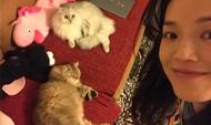 舒淇和爱猫合影 素颜甜笑少女感爆棚