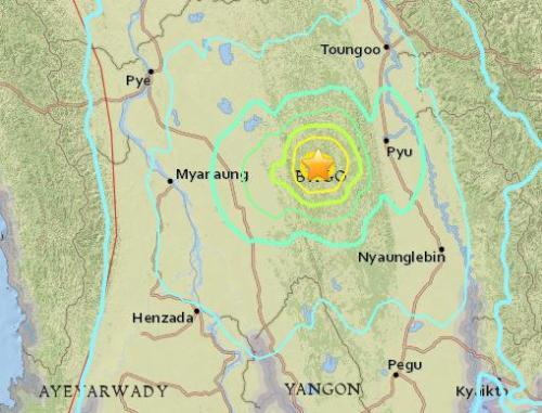 缅甸中部偏远地区发生6级地震 造成伤亡可能性低