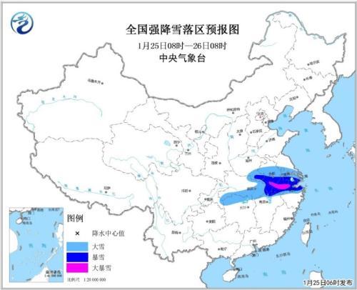 江南北部等地有强降雪 强冷空气继续影响中东部