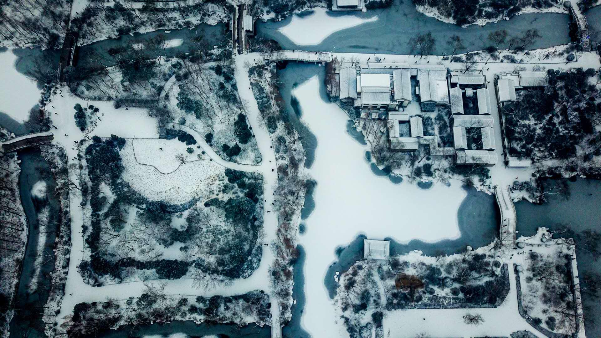 最美山东丨航拍雪后大明湖银装素裹 犹如泼墨山水画