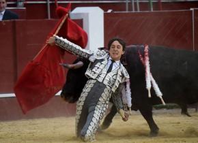 """哥伦比亚举行斗牛赛 斗牛士跪地""""决战""""黑牛"""