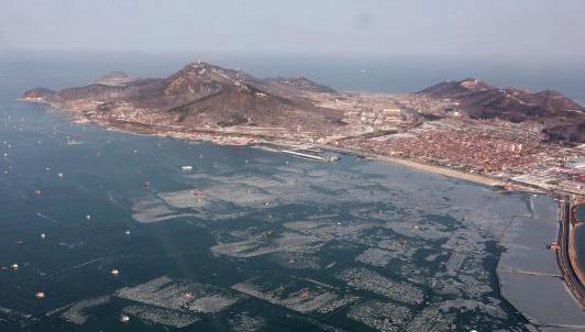 海空立体巡航 航拍烟台海空巡视海上运输安全