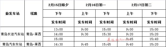 春节青岛汽车总站发车计划出炉 没买票的速看