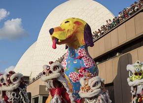 世界各地庆祝中国新年 狗元素亮相悉尼歌剧院