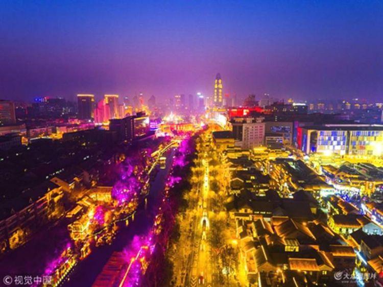 济南:落日余晖下泉城色彩斑斓美不胜收