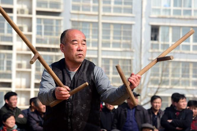 各地武术队汇聚东阿 展演传统武术贺新年