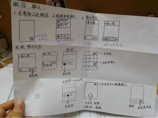 济南大学生手绘说明书 教七旬奶奶学会微信聊天