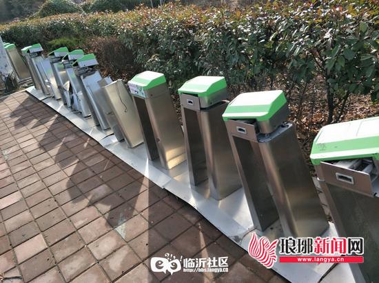 临沂一处公共自行车站点遭破坏 请市民自觉爱护