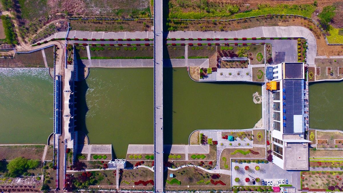 航拍山东境内第一级泵站:南水北调台儿庄泵站