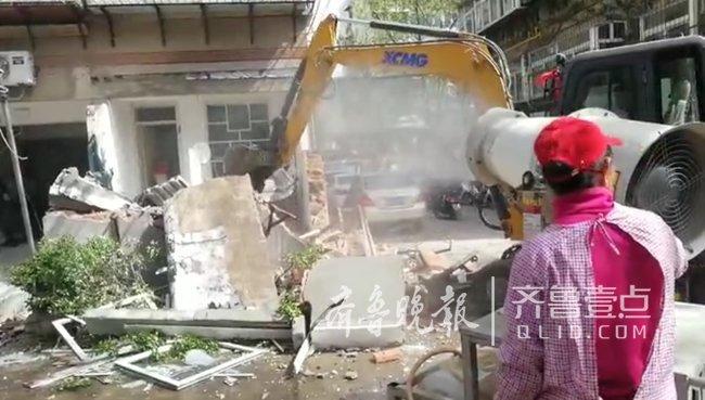 济南一小区8000平方米违建被拆,涉及业户多达百余户