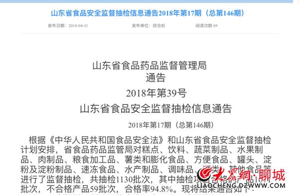 山东省食药监局通报聊城12批次不合格产品