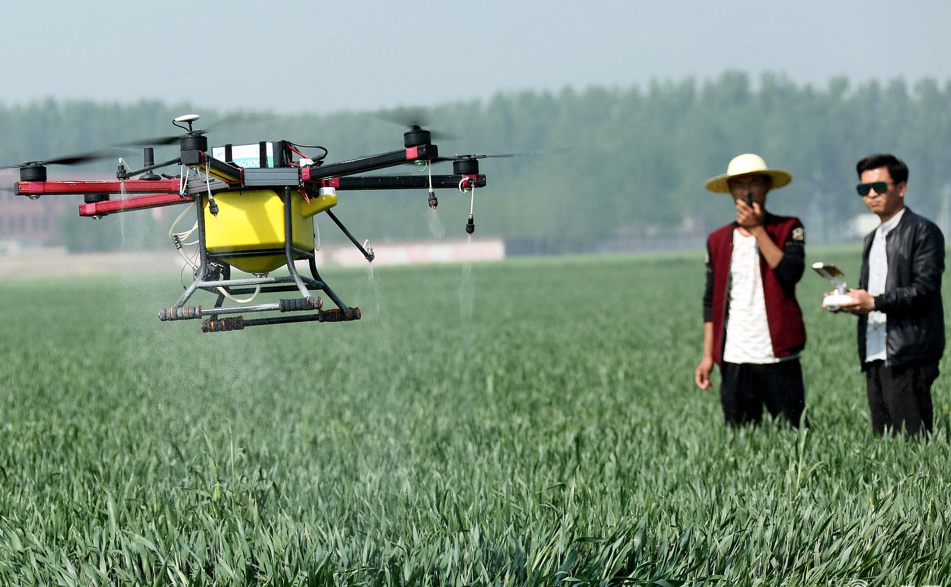 """枣庄""""全国种粮大户""""租赁无人机 免费为贫困户小麦喷肥"""