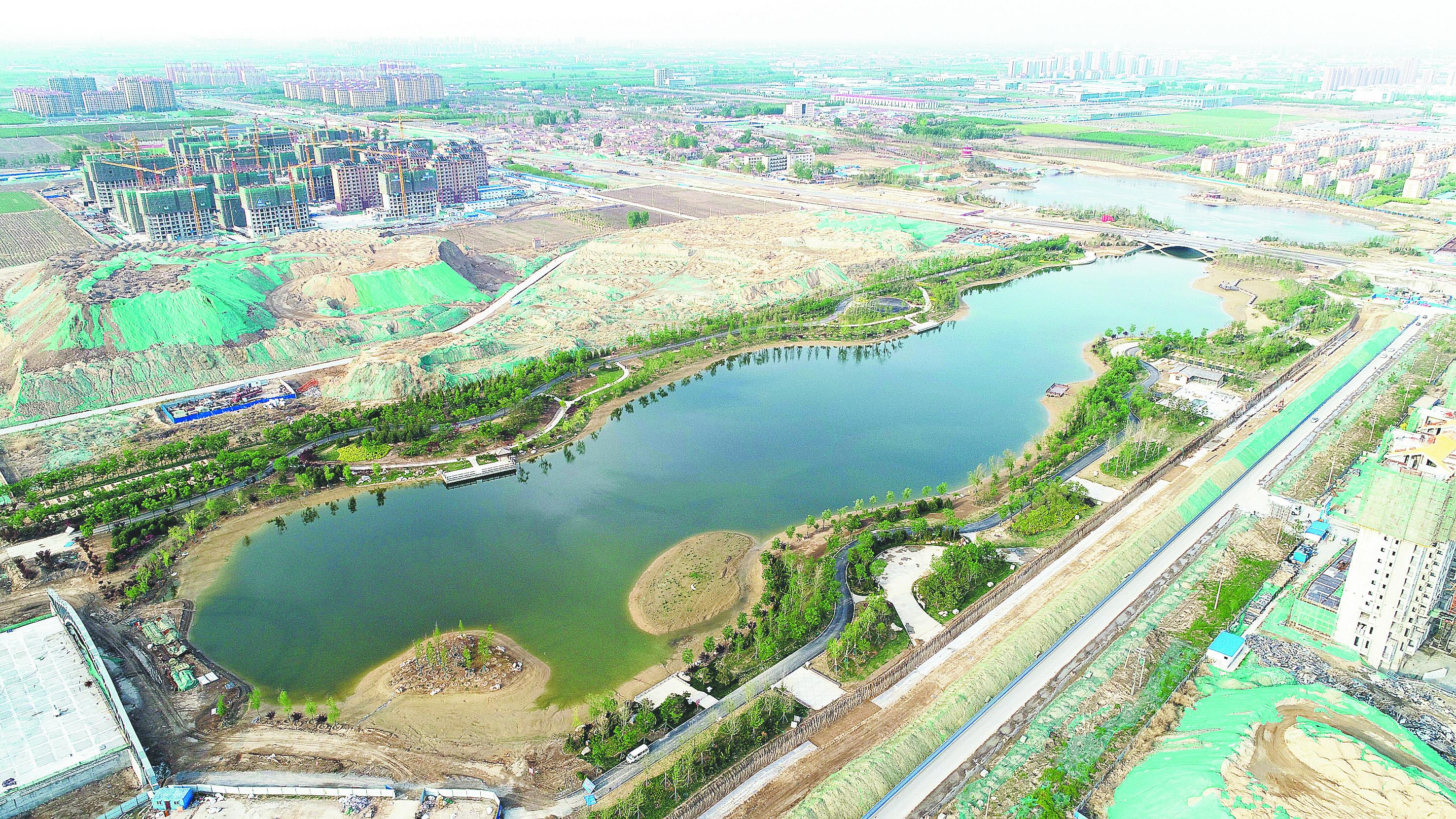 淄博高新区猪龙河畔惬意美景俩月后绽放