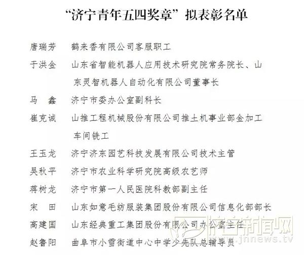 """""""济宁青年五四奖章""""拟表彰名单公示"""