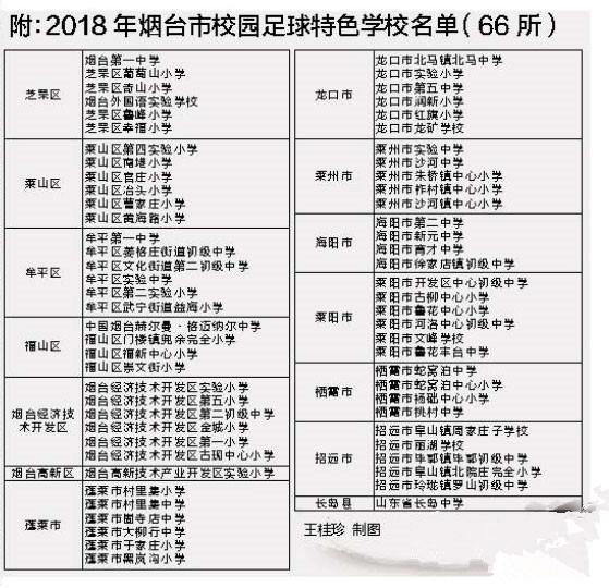 烟台第三批校园足球特色学校公布 66所学校列入名单