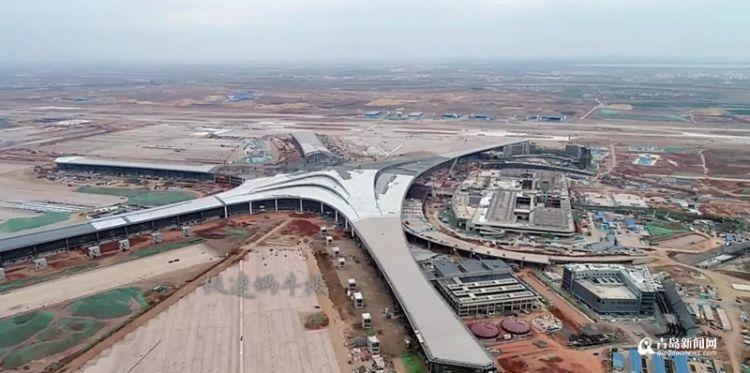 胶东机场航站区主体二次结构完工 航站大楼见雏形