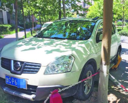 在名尚国际草坪上停车 物业锁车收200元押金