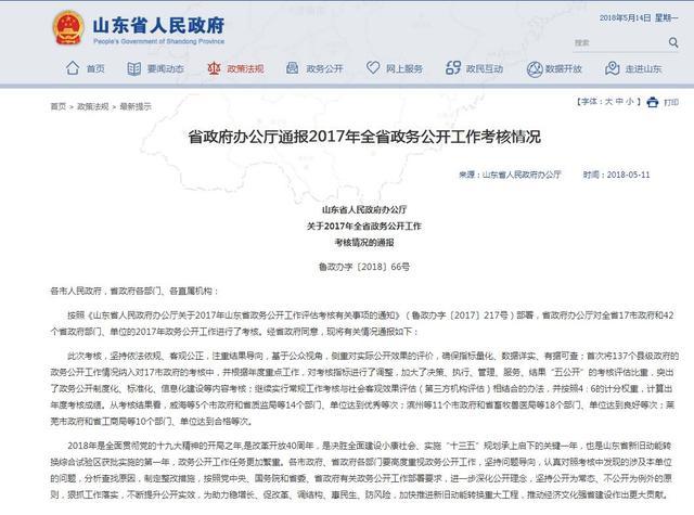 山东17市政府政务公开成绩单公布 滨州与青岛济南列同一等级