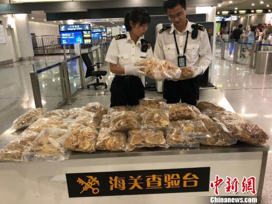 成都海关在空港口岸截获大批次鱼翅和花胶
