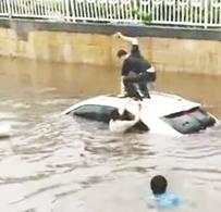 雨中4辆车被困临淄一铁路桥 3市民砸破天窗救出女司机