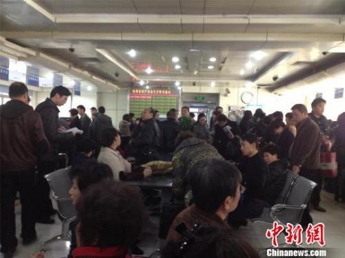 资料图:杭州市房产交易中心办证大厅,市民正在咨询、办理业务。李梦清 摄