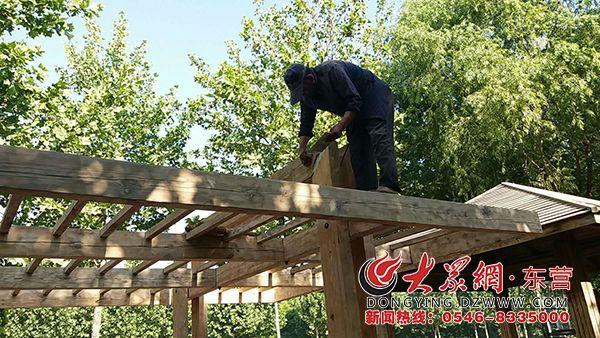 广饶县:维修设施 提升城区绿地景观
