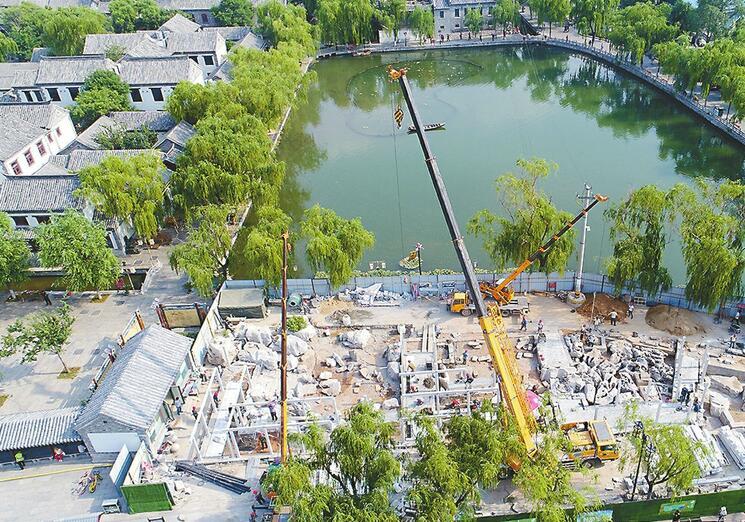 济南明府城北大门提升,打造泉城特色院落建小型喷泉