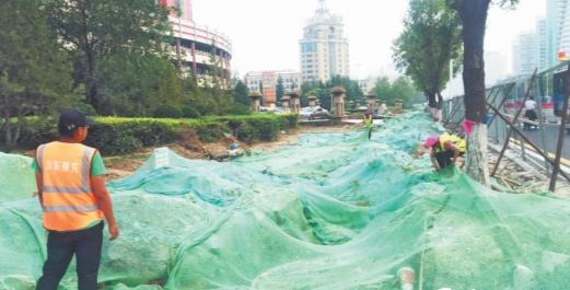 淄博柳泉路改造日记丨慢行一体化车道已铺设碎石