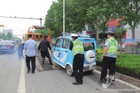 宁津交警大队开展非机动车乱停乱放专项整治行动