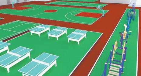 淄博张钢社区清除荒地垃圾改建综合运动场 可开展多项赛事