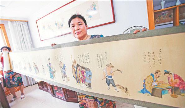"""淄博""""绘画达人""""半年绘出25米长画卷 140多个聊斋人物跃然纸上"""