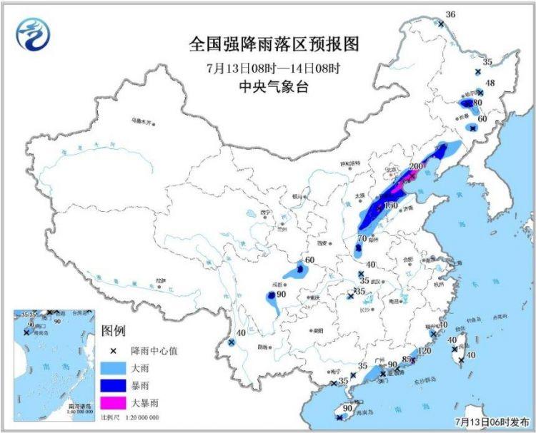 暴雨黄色预警:河北辽宁等地局地有大暴雨