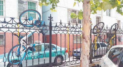 淄博多辆共享单车被挂天立花园围栏 未损坏可正常使用