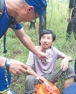 博山一男子爬山迷路 救援队、民警紧急搜寻将其成功救出