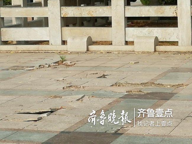 济南幸福柳广场设施损坏严重,伤痕累累,居民盼修复