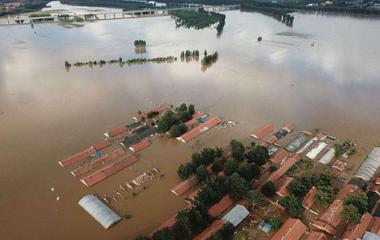 航拍直击弥河寿光段遭遇1974年以来最大洪峰
