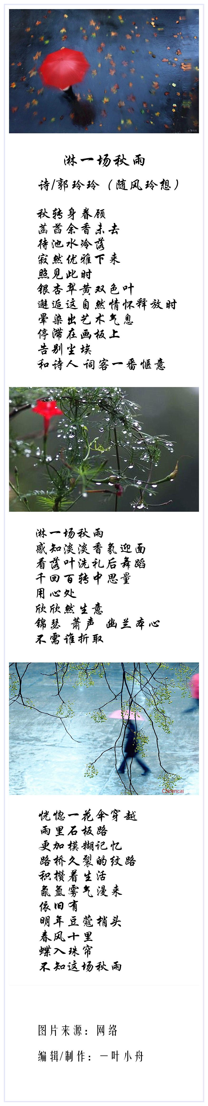 郭玲玲淋一场秋雨诗合成