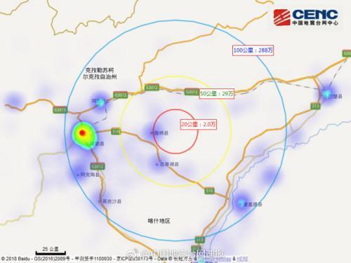 新疆喀什伽师县连发三次地震 震中20公里内人口约2万