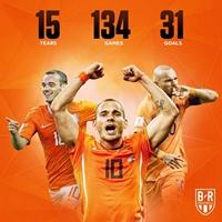 134场!斯内德15年国家队生涯正式结束
