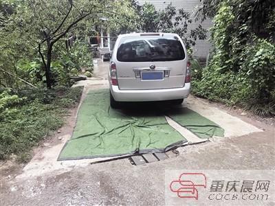 """小区绿化带被""""蚕食"""" 成了私家车位"""
