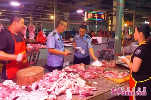 广饶街道市场监管所开展猪肉市场监督检查