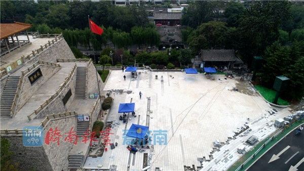 济南解放阁广场扩容,外墙打造3D光影秀