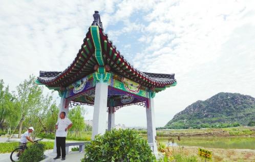 济南华山生态湿地公园初露芳容,华山湖湖面基本成形