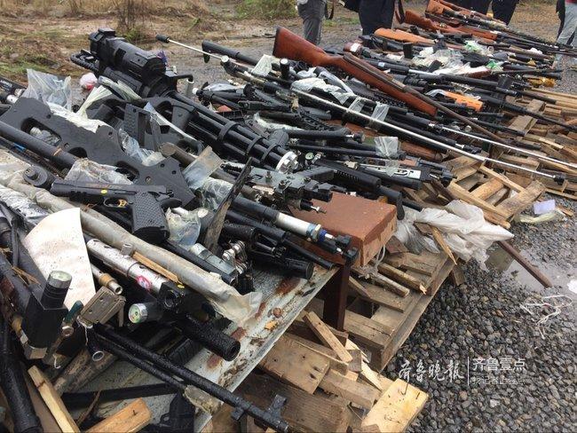 山东公安集中销毁枪支5200余支,管制刀具6700余把