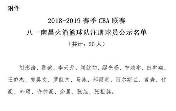 八一注册名单公布韩硕回归 新队名透露迁主场