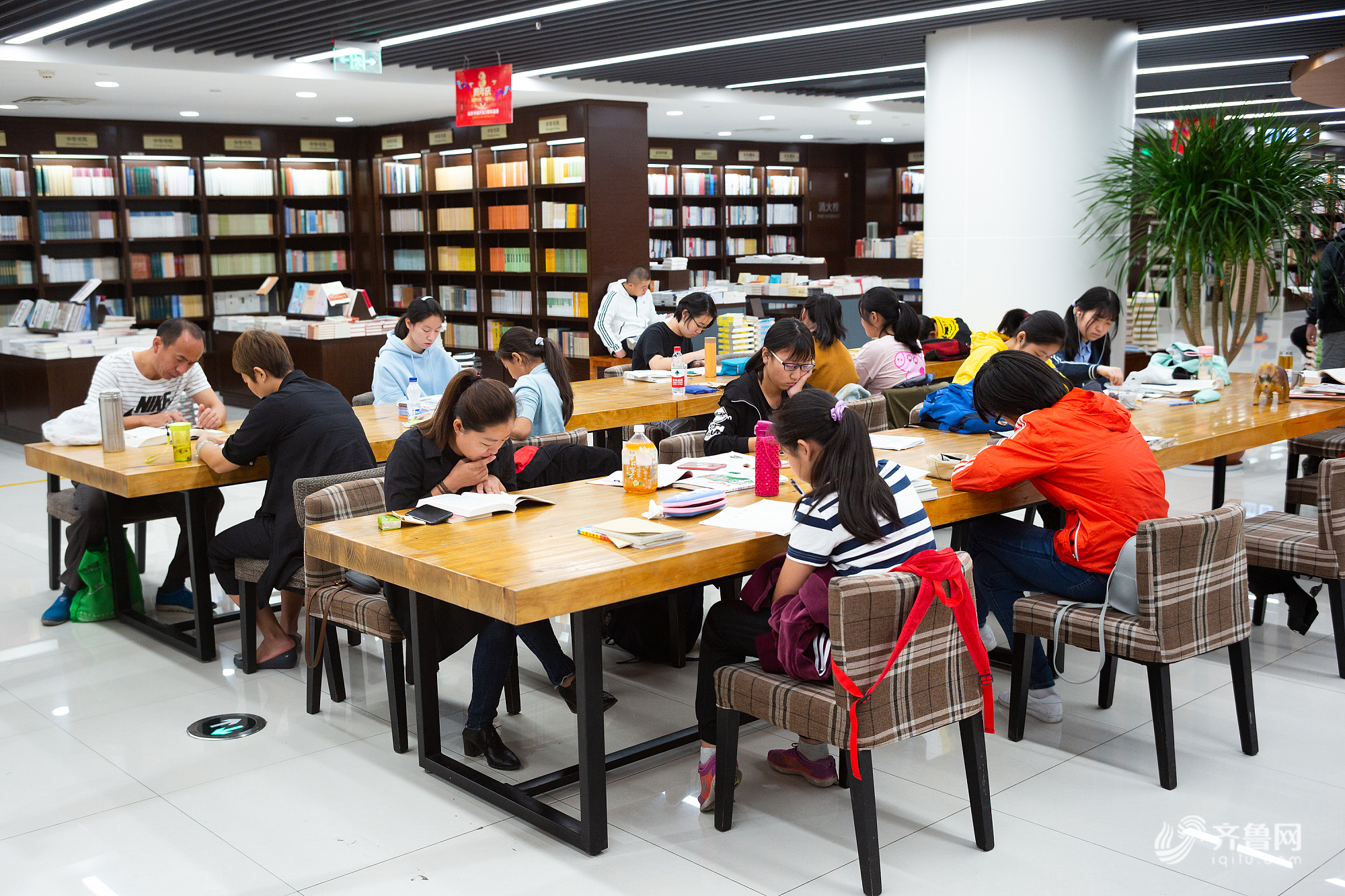 """济南:国庆假日 学生读书学习""""充电""""忙"""